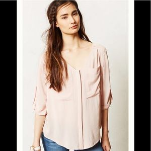 Anthropologie Edme & Esyllte pink blouse